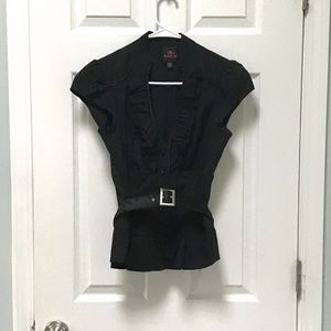 NWOT 2B Bebe Black Belted Button Front Blouse XS